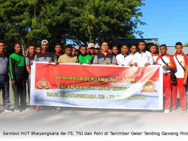 Sambut HUT Bhayangkara Ke-73, TNI dan Polri di Tanimbar Gelar Pertandingan Gawang Mini