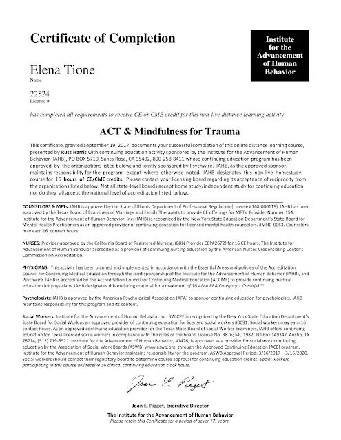 Elena Tione | Coaching in ACT & Mindfulness for Trauma, con, e diretto da, il Dr. Russ Harris, MD, PhD (Acceptance and Commitment Therapy) tramite l'Institute for the Advancement of Human Behavior, anno 2017