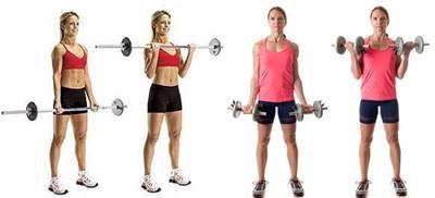 Curl de biceps con barra y mancuernas para mujeres