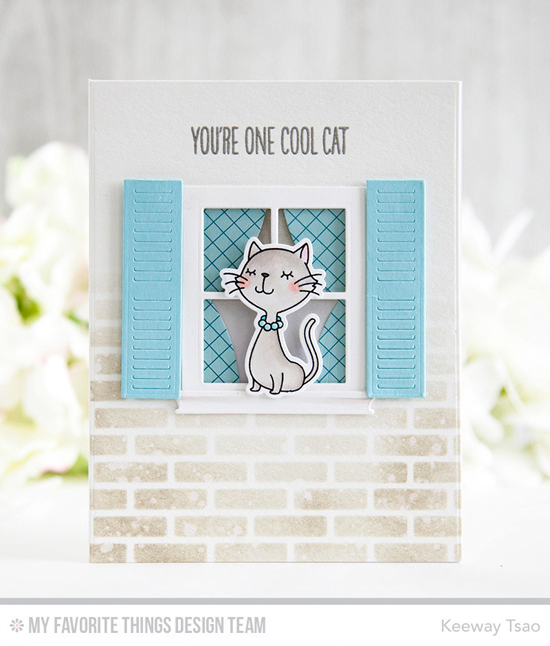 Handmade card from Keeway Tsao featuring Birdie Brown Cool Cat stamp set and Die-namics, Classic Window Die-namics, English Brick Wall stencil #mftstamps