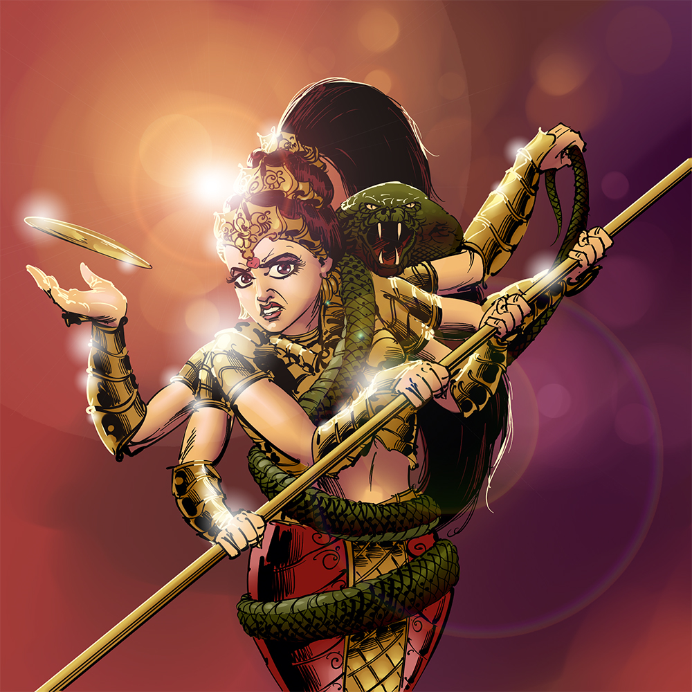 indian mythological warrior goddess durga digital painting