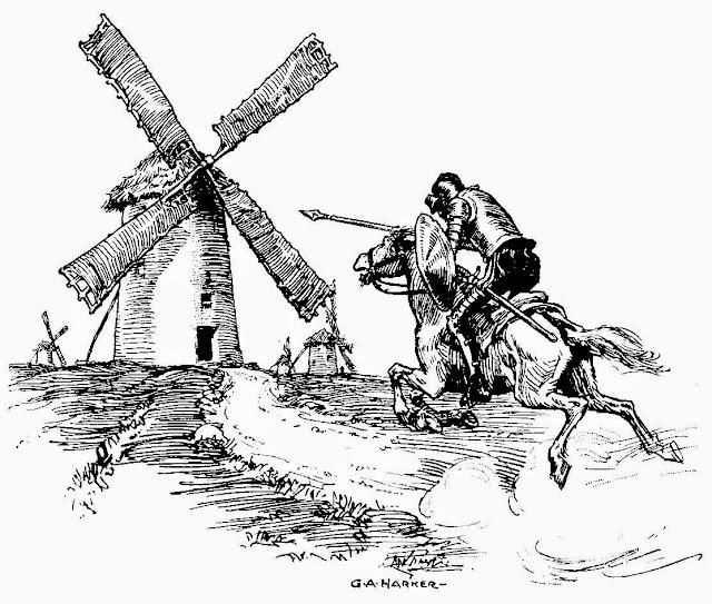 Картинки по запросу картина Донкихот с мельницами