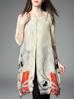 Crew Neck Linen Half Sleeve Casual Tunic
