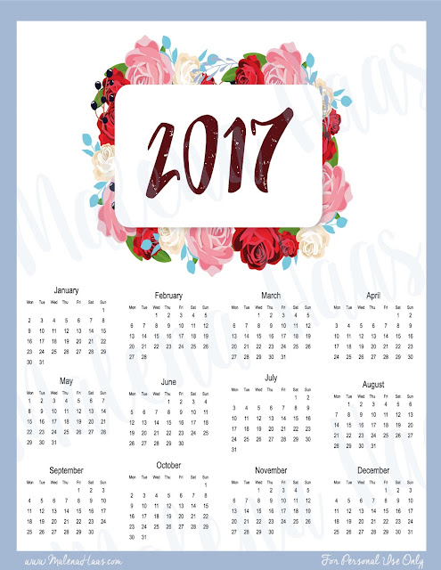 FREE Year At A Glance Printable