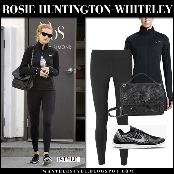 Rosie Huntington-Whiteley in black Nike jacket, black leggings and sneakers nike flyknit workout celebrity fashion january 2