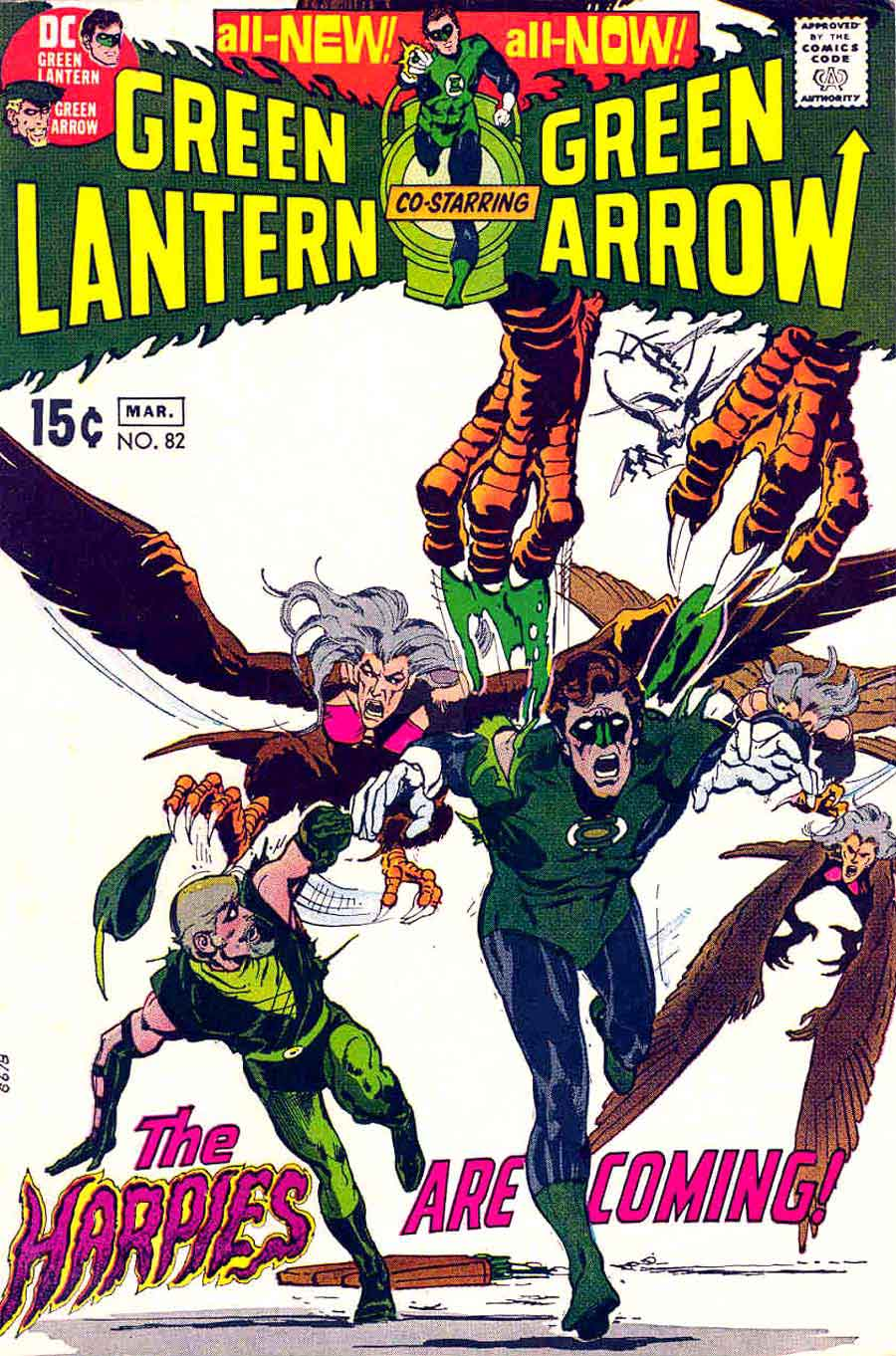 Green Lantern Green Arrow #82 dc comic book cover art by Neal Adams