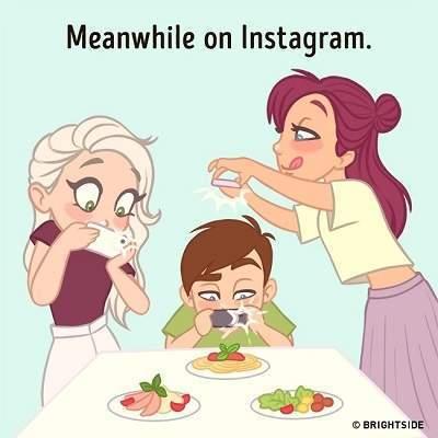 Ilustrasi yang Menggambarkan Seseorang Kecanduan Sosial Media