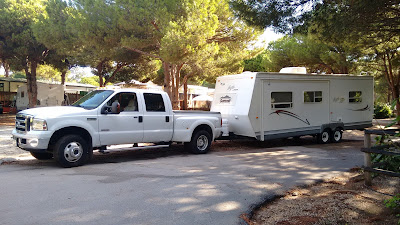 Travel trailer and 5th wheel campsite moves in Spain