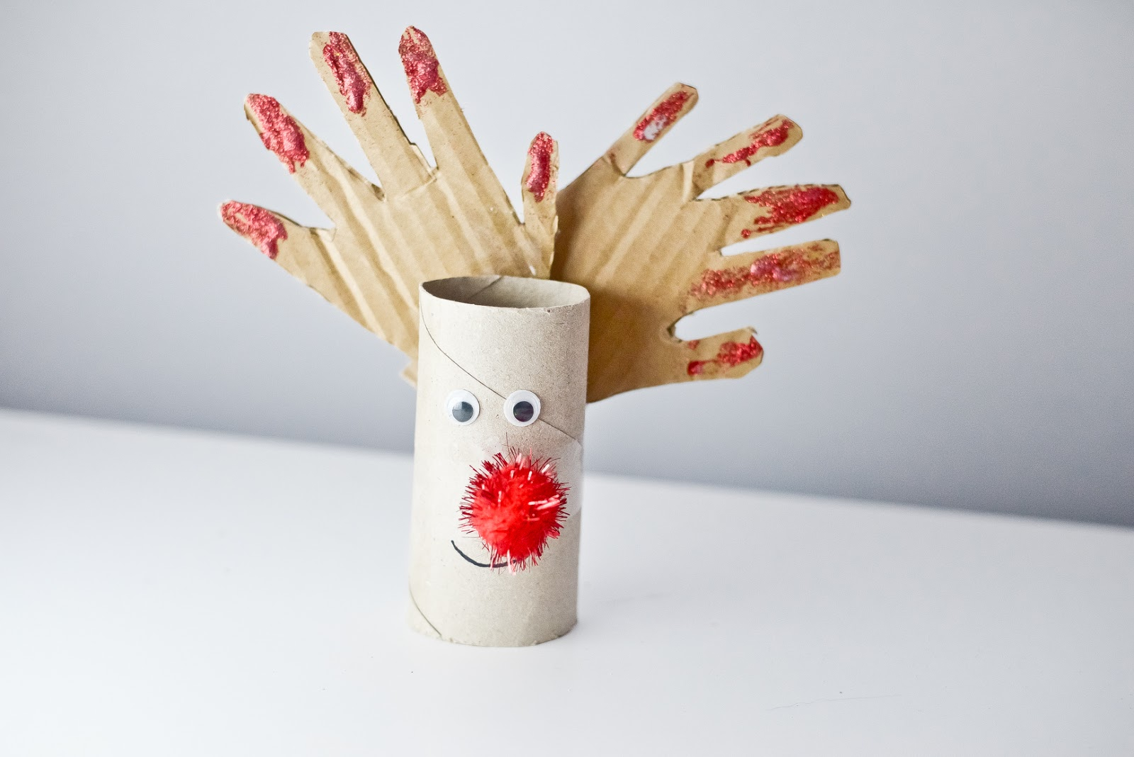 Reindeer Christmas craft toilet roll tube