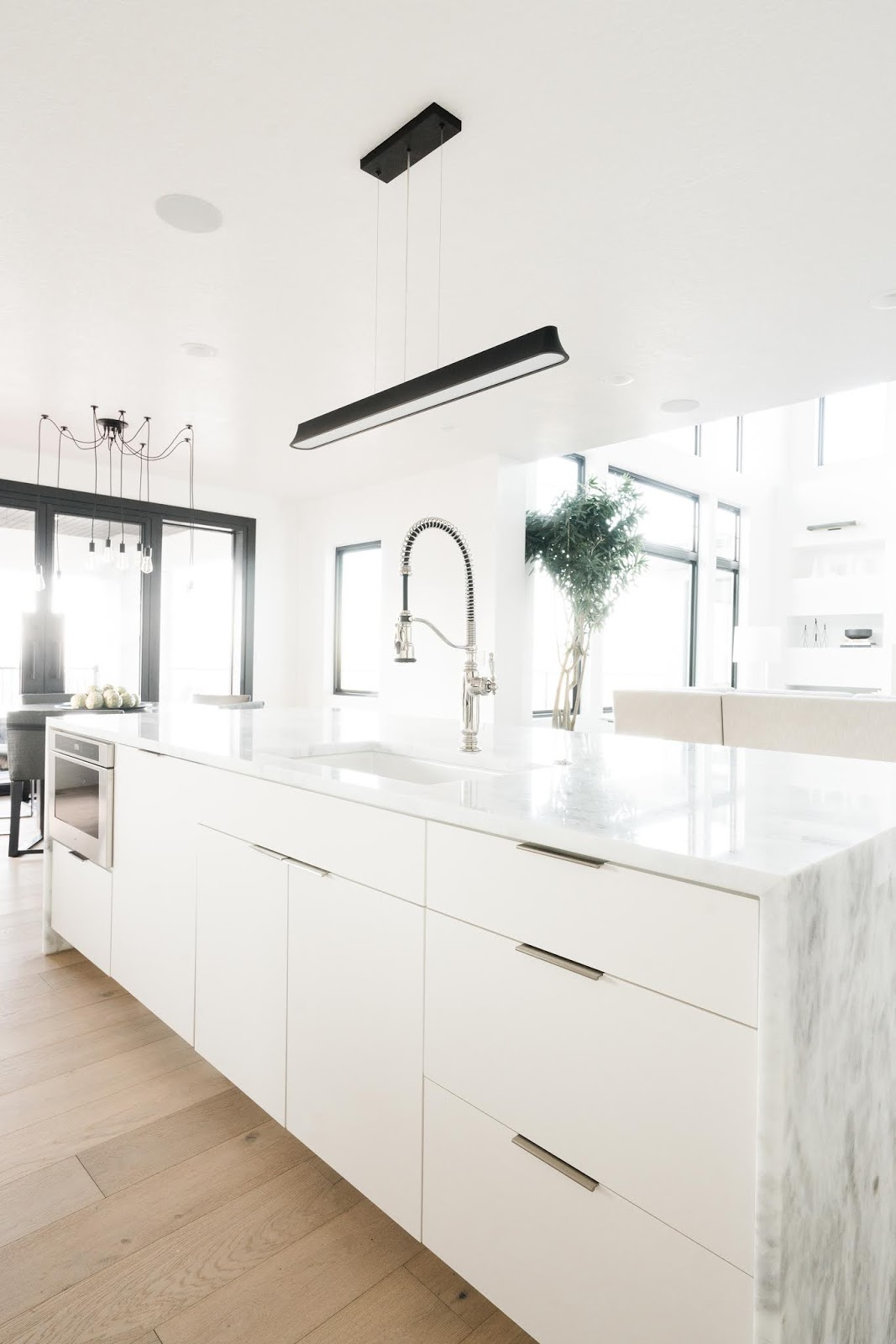 White Kitchen Island, Quartz counters, Marble Counters
