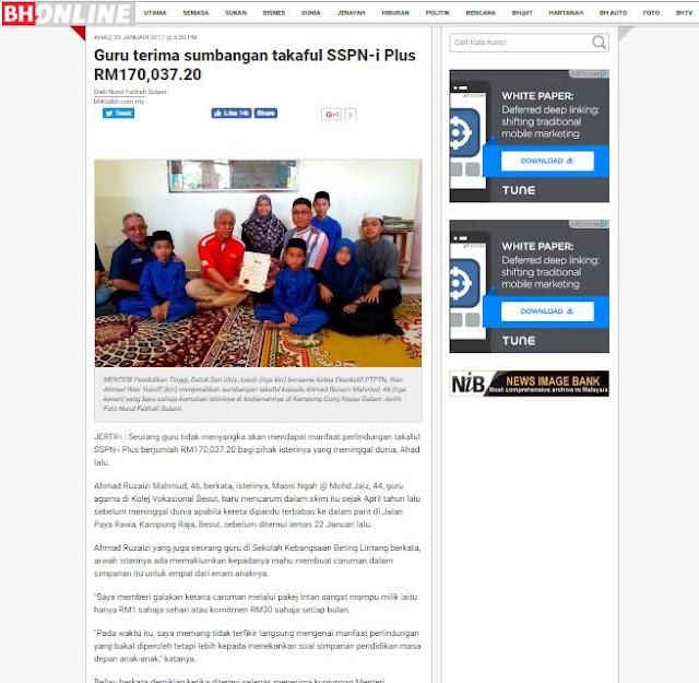 Sumbangan Takaful SSPN-i Plus Selepas Isteri Meninggal Dunia