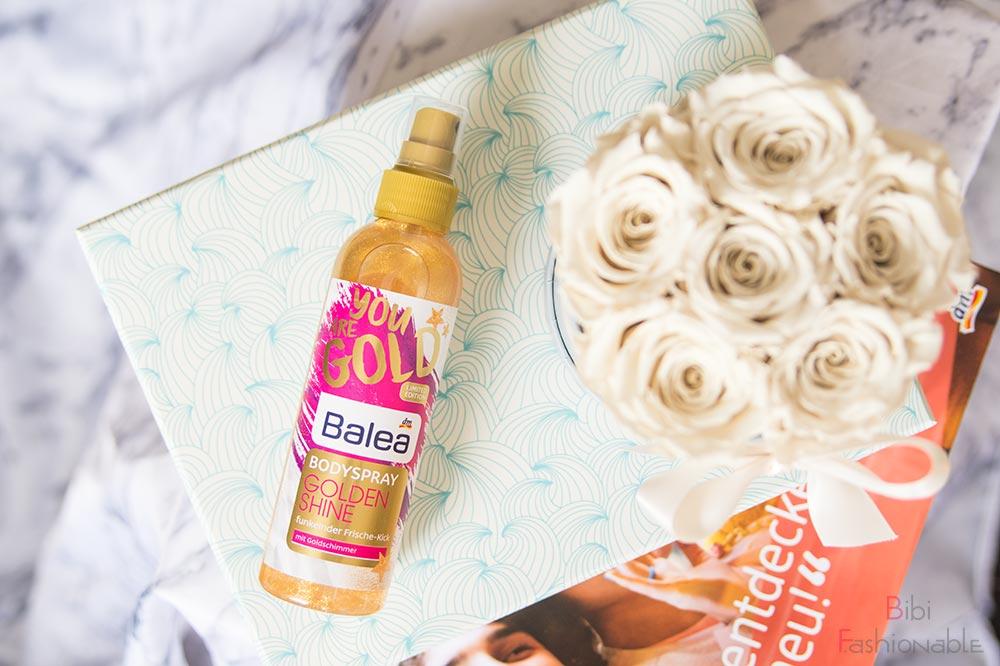 Unboxing dm Box alles was die Haut verwöhnt Balea Bodyspray Golden Shine