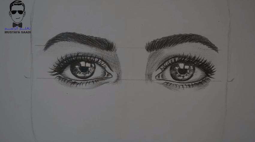 3d2564b6e9aad كيفية رسم العيون وضبطها بشكل متشابه بالرصاص مع الخطوات للمبتدئين