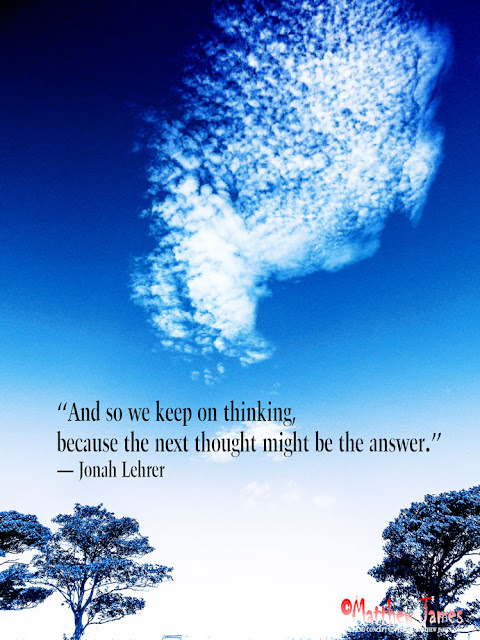 'And so we keep on thinking, because the next thought might be the answer' - Jonah Lehrer