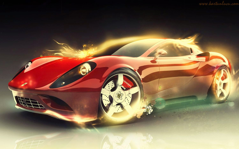 Foto Mobil Ferrari Warna Kuning Modifikasi Mobil
