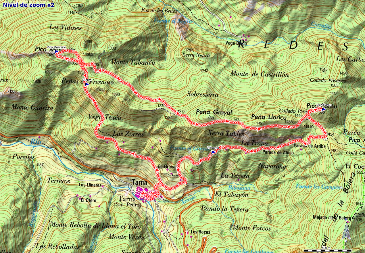 Mapa de la ruta Tarna, Picos Mosquito y Paréu, Tarna