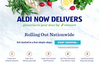 An ad from Instacart advertising delivery from Aldi stores