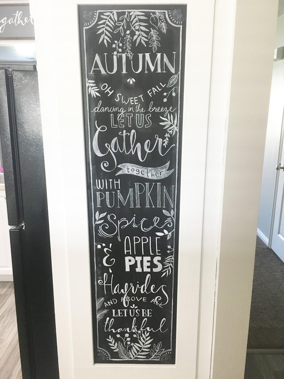 Autumn Themed Kitchen Chalkboard | Miss Audrey Sue
