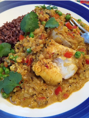 Fish in Coconut Tamarind Sauce with Vegetables