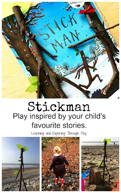 Make a stickman family. Activities inspired by Stickman by Julia Donaldson. National Reading Month.
