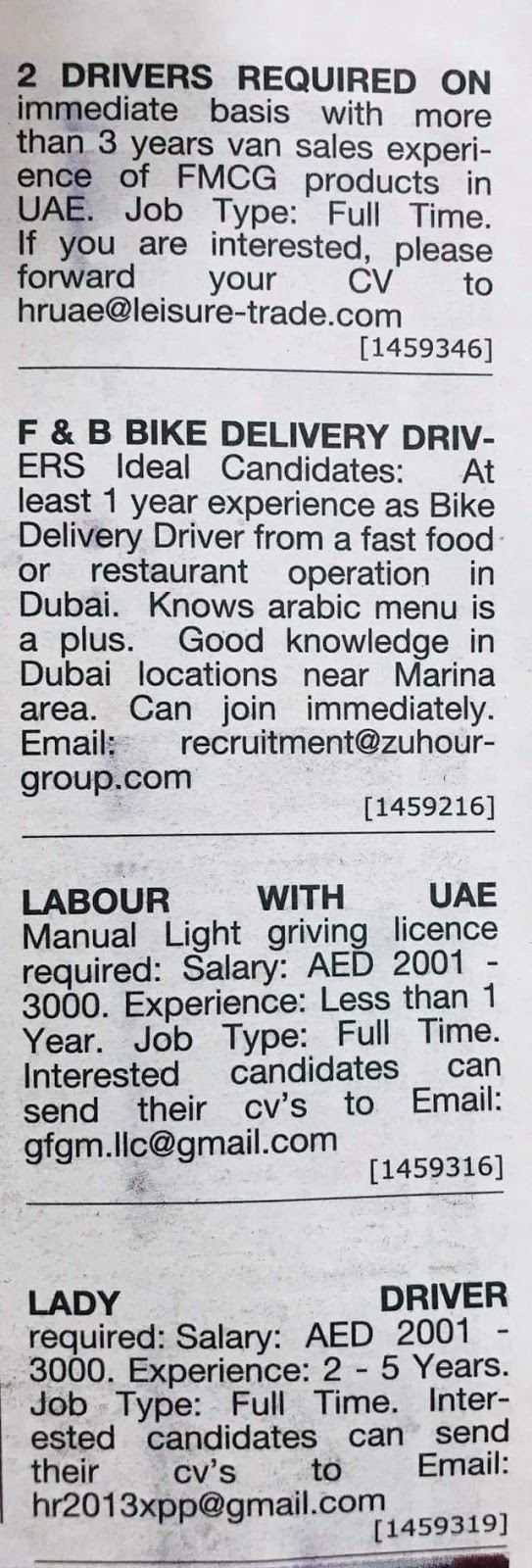 Required Drivers & Bike Drivers Male & Female & Labour for