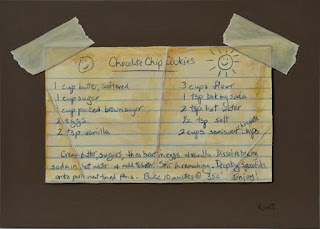 Small trompe l'oeil painting of a chocolate chip cookie recipe card