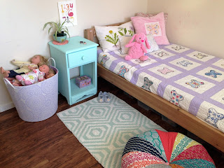 OC's, #green, kids bedroom, HomeSense, pouff, rug, dolls, bed, slippers, painted furniture, painted kids furniture
