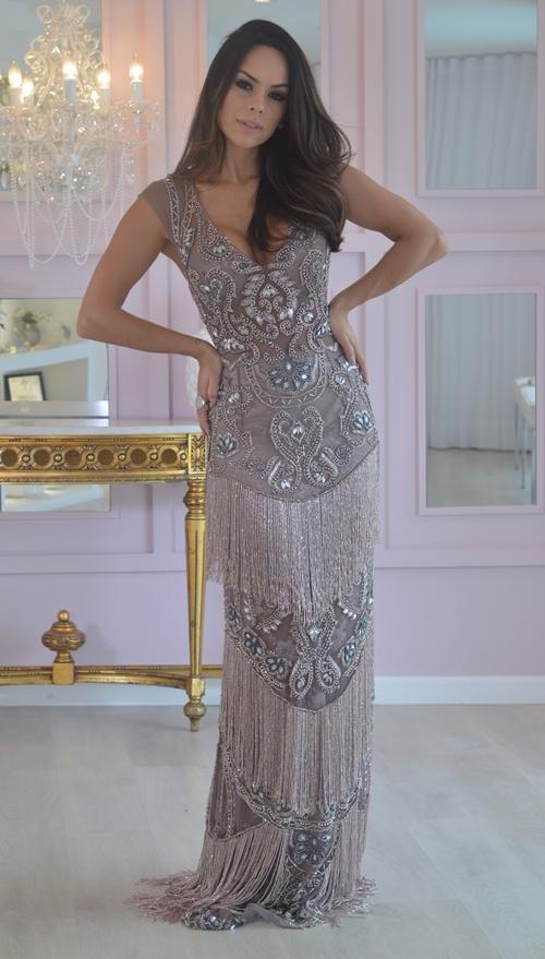 vestido de festa com franja