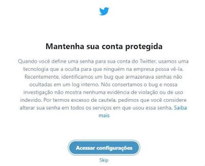 Twitter sofre falha interna e pede para usuários trocarem de senha imediatamente