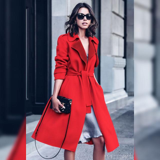 Γυναικεία κόκκινη καπαρντίνα DALIBORA RED