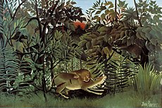 """""""The Hungry lion throws itself on the Antelope"""", 1905, Henri Rousseau_www.psartworks.in"""
