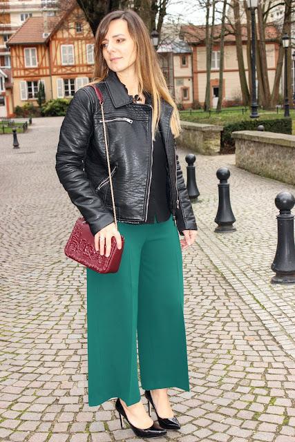 pantalon vert sapin, escarpins minelli, sac anne fontaine, les petites bulles de ma vie