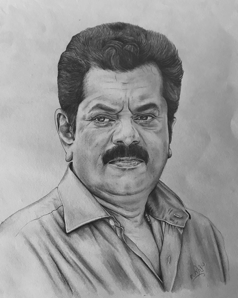 Pencil drawing of actor Mukesh