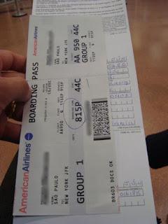 Bilhete de viagem da American Airlines