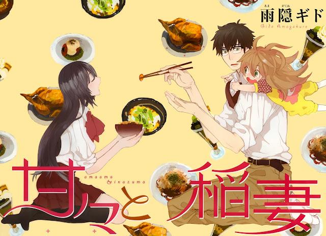 Amaama to Inazuma dostanie anime - trzej bohaterowie podczas jedzenia