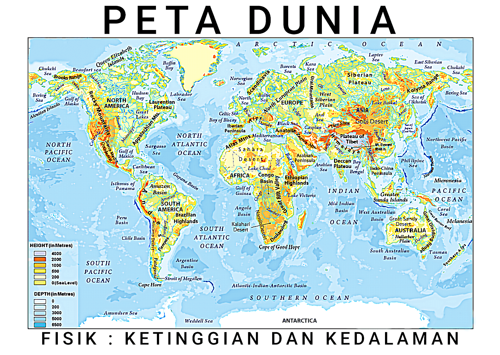 gambar peta dunia ukuran besar berdasarkan ketinggian