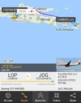 Melihat detail rute penerbangan dari pesawat yang ada di atas langit kita