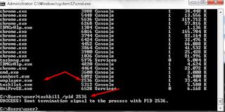 masukan perintah taskill /pid (nomor program) untuk mematikan program secara paksa