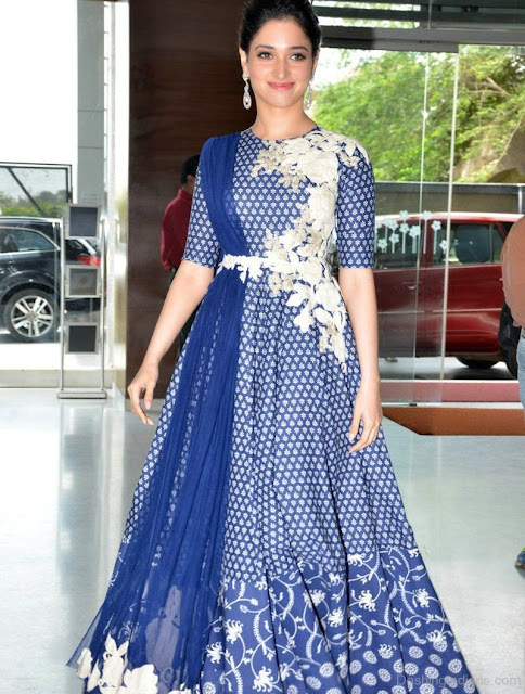 Tamanna Bhatia in blue Anarkali Suit with Transparent Back Alludu Seenu Platinum Disc Celebrations