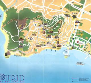 Mapa de Ohrid, Macedonia.