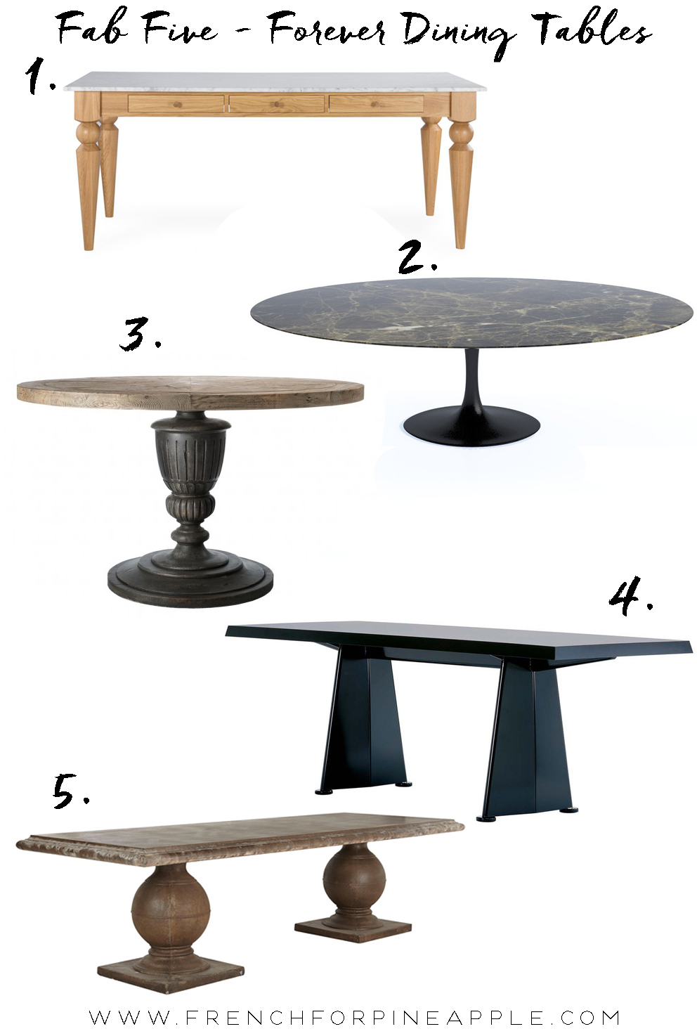 French For Pineapple Blog - Fab Five Forever Dining Tables. The other day I was pondering 'forever' pieces for the home. Things you buy at a certain point in your life, that you're likely to keep, even hand down to your children (or, um, pets). I couldn't think of many really - we live in such a disposable world these days.  Sofas? Well they get knackered eventually and need to be replaced or at least reupholstered, though it's often cheaper to replace them sadly.  Beds? Maybe?  A beautiful sideboard? Perhaps...  Dining Table? Definitely!  When we have the funds to create our forever kitchen (so in like twenty years!), we'll need a forever dining table to go in it, of course. Though given that time frame, maybe the forever dining table should come first.