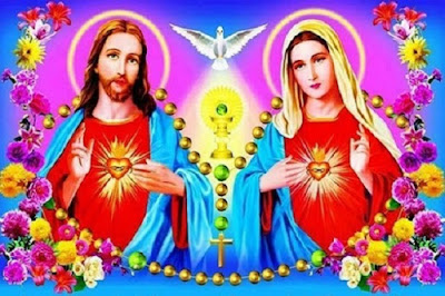 imagem do Sagrado Coração de Jesus e do Imaculado Coração de Maria