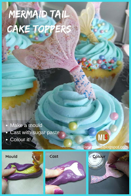 How to make a mermaid's tail cupcake topper pin.