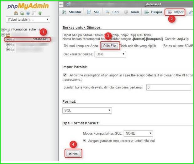 Cara Membuat, Menggabungkan dan Import Database di cPanel Hosting