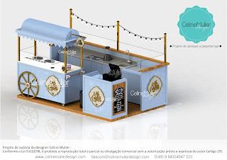 Projeto de quiosque com design exclusivo para operação de crepe