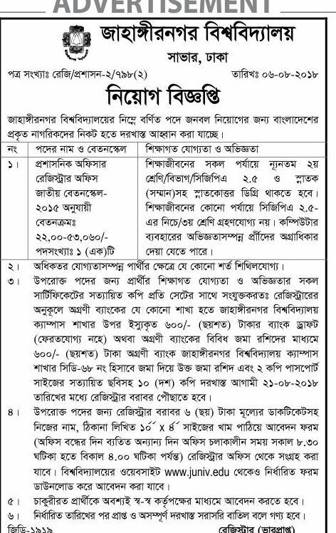 Jahangirnagar University (JU)Job Circular 2018