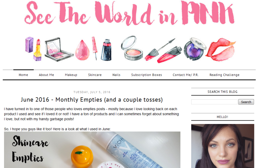 bbloggers, bbloggersca, beauty blogger, blog of the month, see the world in pink, featured