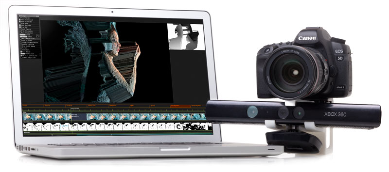 A mounted DSLR and Kinect, and volumetric video