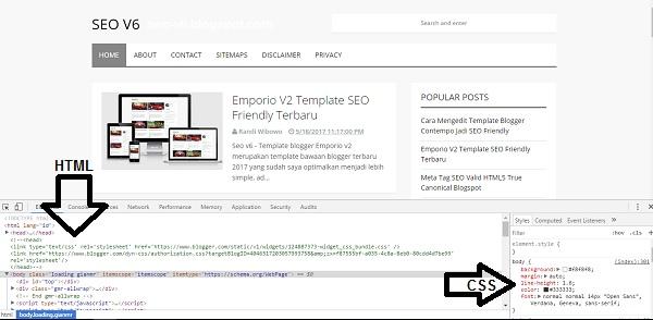 Cara melihat code css web