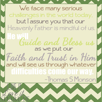 We face many serious challenges in the world today, but I assure you that our Heavenly Father is mindful of us. He will guide and bless us as we put our faith and trust in Him and will see us through whatever difficulties come our way. - Thomas S Monson